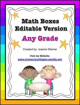 Math Boxes Editable Version
