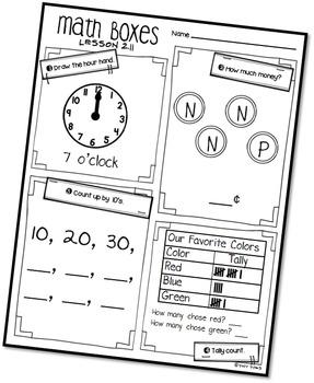 Math Boxes First Grade - Unit 2