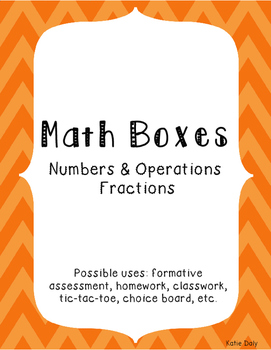 4th Grade Math Boxes Numbers and Operations - Fractions