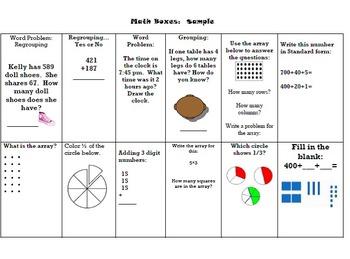 Math Boxes Second Grade Homework Common Core