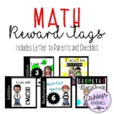 Math Reward Tags! With Parent Letter and Checklist!