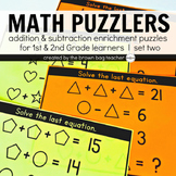 Math Logic Puzzles Set 2: 1st & 2nd Grade Math Enrichment