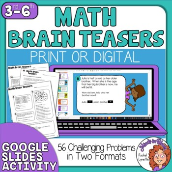math worksheet : math brain teasers with answer key  56 problems in 2 formats by  : Mathbrain