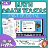 Math Brain Teasers with Answer Key - 56 Problems in 2 Formats