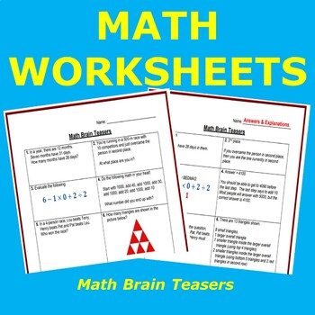 Math Brain Teasers (with answers and explanations)