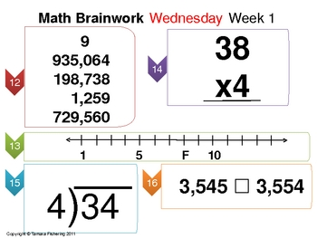 Math Brainwork Activity Slide Presentation Weeks 1 thru 6