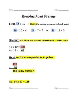 Math Break Apart Strategy problems