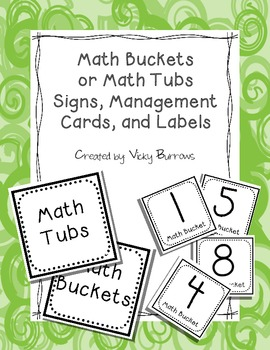 Math Buckets or Tubs Signs, Management Cards, and Labels