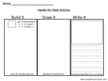 Math: Build It, Draw It, Write It! (Full Sheet)