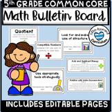 Math Bulletin Board 5th Grade Math CCSS Standards Posters