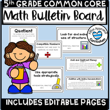 Math Bulletin Board 5th Grade Math CCSS Standards Posters