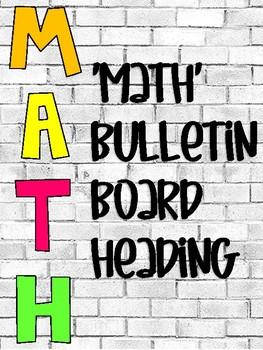 Math Bulletin Board Heading