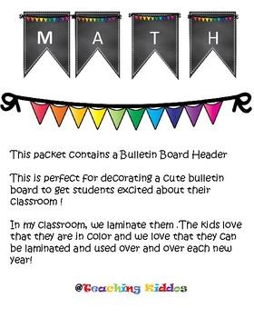 Math Bulletin Board multi color rainbow pennant pineapple chalkboard