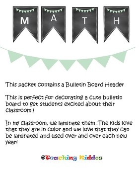 Math Bulletin Board teal light green pennant pineapple chalkboard