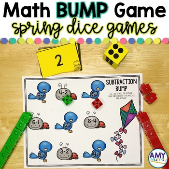 Math Bump Dice Games Spring Themed