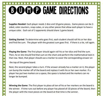 Math Bump Game - Representing Division as Fractions