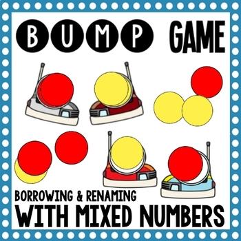 Math Bump Game - Borrow and Rename Mixed Numbers
