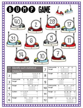 Math Bump Game - Box Plots - 2 Versions for Differentiation
