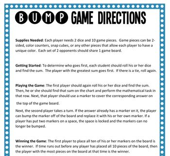 Math Bump Game - Fractional Part of a Set with Models