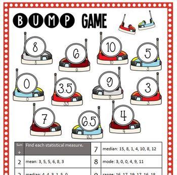 Math Bump Game - Mean, Median, Mode, and Range