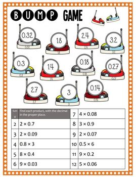 Math Bump Game - Multiplying Decimals and Whole Numbers