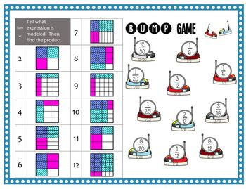 Math Bump Game - Multiplying Fractions with Area Models