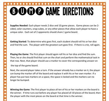 Math Bump Game - Multipyling Fractions by Fractions