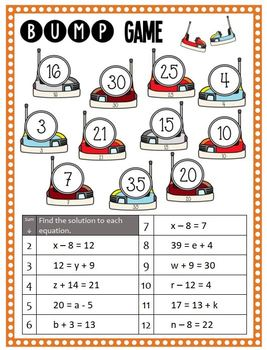 Math Bump Game - Solve Addition and Subtraction Equations