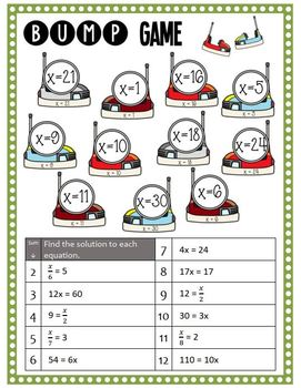Math Bump Game - Solve Multiplication and Division Equations