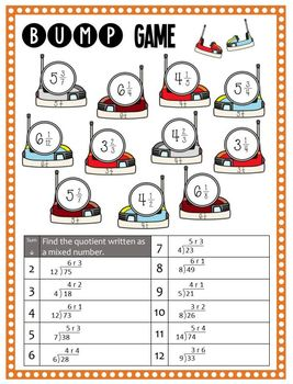 Math Bump Game - Writing Remainders as Fractions