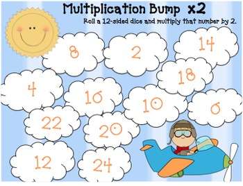 Math Games: Math Bump for 2's Times Tables FREEBIE