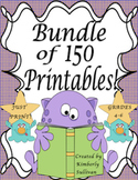Spring Break review Math Bundle 150 Printables  Early Finishers