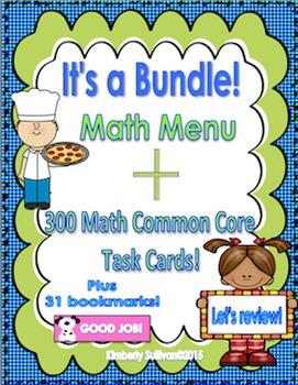 Bundle Money Math Menu Game  300 Common Core Task Cards
