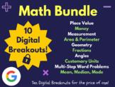 Math Digital Breakout Bundle: (Fractions, Place Value, Money, Geometry & More)