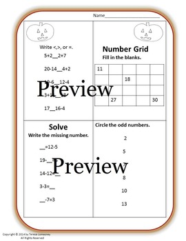 Halloween and Fall Math 120 Grid Monsters{Bundle} First Grade
