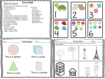 Math Bundle for Pre-K Worksheets Common Core States Standard