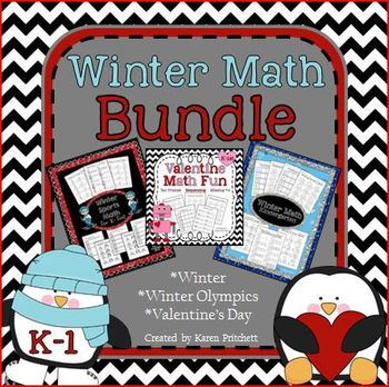 Math Bundle for winter - Valentine's Day, Olympics, and Co