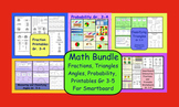 Math Bundle:Fractions, Probability, Angles, Triangles, Printables Gr 3-5