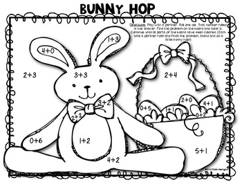 Math {Bunny Hop} Partner Addition Dice Game: Fluency to 6!