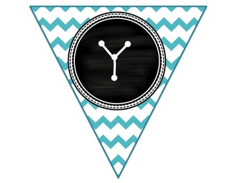 Math Bunting-  chevron, chalkboard, hot pink and teal theme