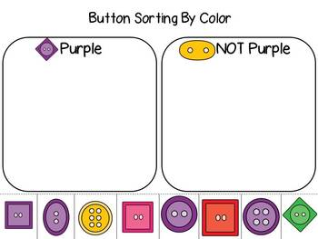 Math Button Sorting- Size, Shape, Color and Holes