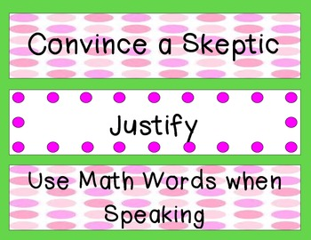Math CAFE Bulletin Board Headings AND Strategies--Green
