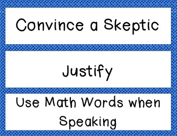 Math CAFE bulletin board headings AND strategies--Blue