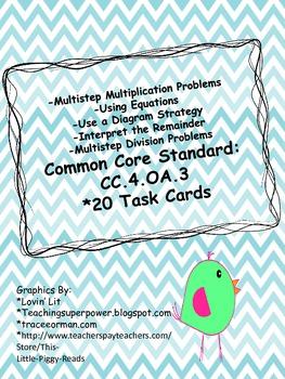 Math CC4.OA.3 Task Cards