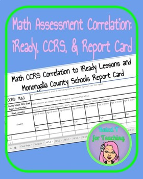 Math CCRS, iReady, and Report Card Correlation Chart