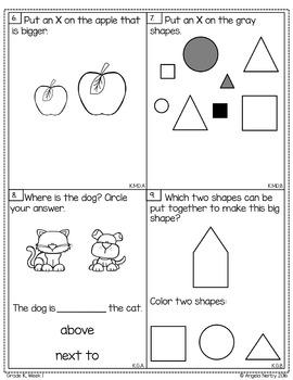 KINDERGARTEN Math Formative Assessments - First Quarter
