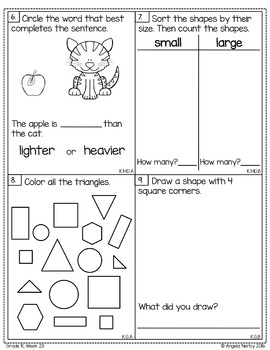 KINDERGARTEN Math Formative Assessments - Fourth Quarter