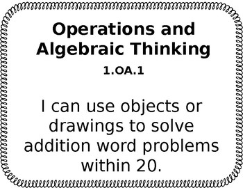 Math CCSS I Can Statements for 1st Grade (Editable)