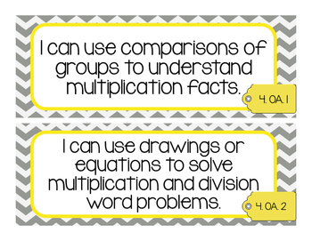 Math CCSS I Can Statements 4th Grade