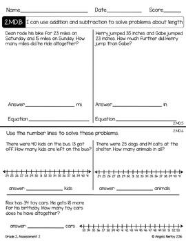 SECOND GRADE Math Summative Assessments - Measurement & Data